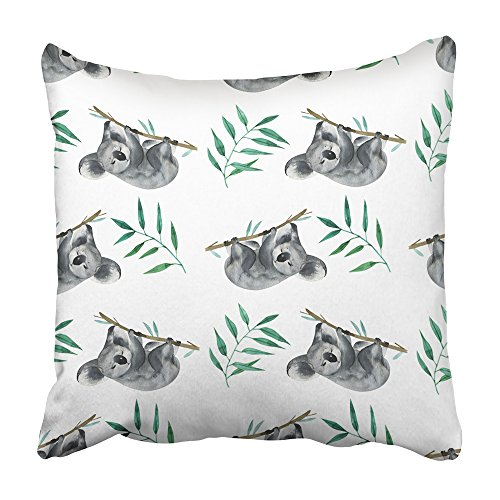 Emvency Throw Pillow Covers 16x16 Inch Decorative Square Cushion Green Australia Wild Watercolor Hand Painting Pattern with Animals Koala Forest Baby Two Sides Print Pillowcase for Bed Chair Sofa (The Best Sofa Bed Australia)