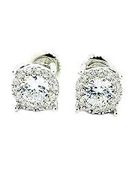 4CT Size Earrings Sterling Silver 8mm Wide Sterling Silver Screw Back Studs