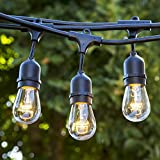 Outdoor Patio String Lights - Heavy Duty Hanging Patio Lights - 50 Feet With 25 Hanging Sockets - 30 11 Watt Incandescent S14 Bulbs Included - Black Wire - Weatherproof Commercial Grade - Bistro Style