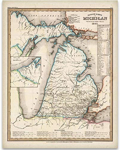 Michigan State Map - 1845 Michigan Map Art Print - 11x14 Unframed Art Print - Great Vintage Home Decor Under $15