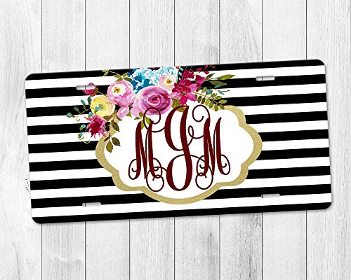 License Plate Boho Floral Custom Monogram in Gold Frame with Black and White Striped Background
