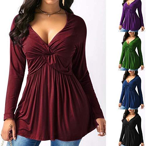 Manches JackenLOVE Blouses Femmes Shirts Longues Tee Printemps et Tunique Sexy Unie Fashion Rouge Tops Chemisiers V Col Couleur Automne Vin Haut Profond arq4waC