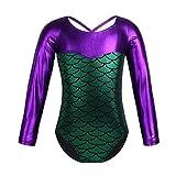 inlzdz Kids Girls One Piece Ballet Dance Leotard Long Sleeves Metallic Splice Gymnastic Workout Sports Unitard Green 4-5