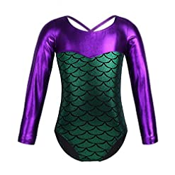Iiniim Girls Long Sleeve Metallic Splice Gymnastics Leotard Mermaid Fish Scales Athletic Dance Outfit Costumes