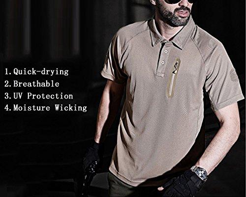 YFNT Homme Camouflage Revers T-Shirt Manches Courte de Plein Air Décontractée Séchage Rapide Respirant Tactique… 2