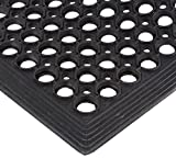Crown Safewalk-Light Rubber Anti-Fatigue Drainage Mat, for Wet or Dry Areas, 36' Width x 60' Length x 1/2' Thickness, Black