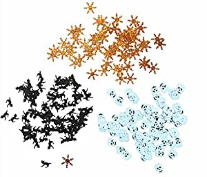 SKD Party Halloween Skulls , Black cat and Snowflake Gold white and black multi-shaped Confetti
