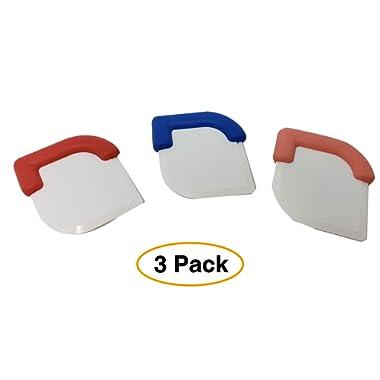 Premium Pan   Skillet Scraper Dish, Pastry, Cake & Dough Scraper Tool (3 Pack) Assorted Colors dough scraper pastry scraper