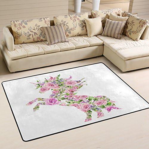 ALAZA Pink Rose Flower Unicorn Area Rug Rugs Mat