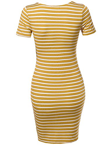 Sleeves Dress Mustard Soft Short Front Stripe Every Women's Basic Day by Fewdrs0004 White Emma Made Lattice v6OPw