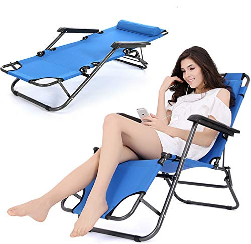 unbranded/generic Portable Folding Chaise Blue Lounge Chair Patio Outdoor Pool Beach Lawn Recliner from unbranded/generic