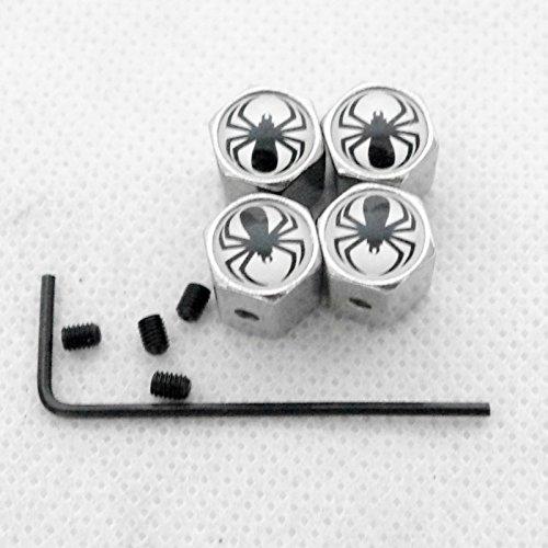 Black Spider Anti-theft Chrome Car Wheel Tire Valve Stem Cap 4pcs Universal Fit