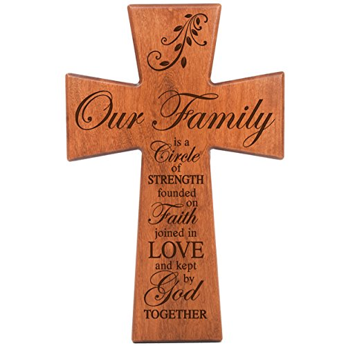 Family Cross - LifeSong Milestones Our Family is a Circle of Strength Cherry Wood Wall Cross Housewarming Gift (7x11)