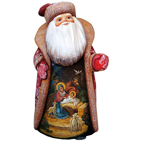 G. Debrekht Carved Wood and Hand-Painted Message of Faith Santa, 14'' by G. Debrekht