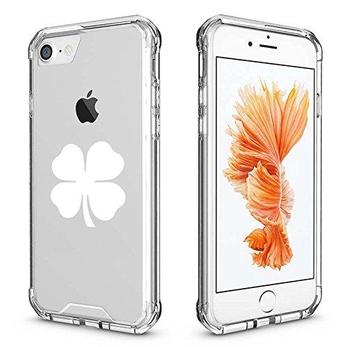 For Apple iPhone Clear Shockproof Bumper Case Hard Cover 4 Leaf Clover Shamrock (White For iPhone 6 / 6s) (Shamrock Phone Case)