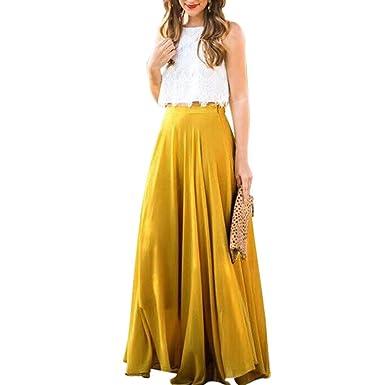VJGOAL Moda Casual de Verano de Color sólido de Gasa Suave ...