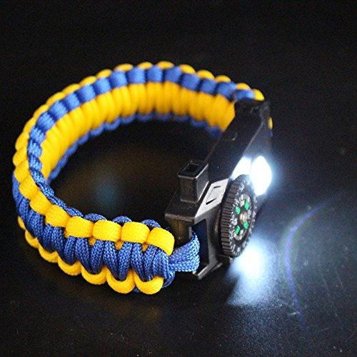 Liebeye コンパスとホイッスル 多機能 屋外 編み ブレスレット ライト パラシュート コード ブラック