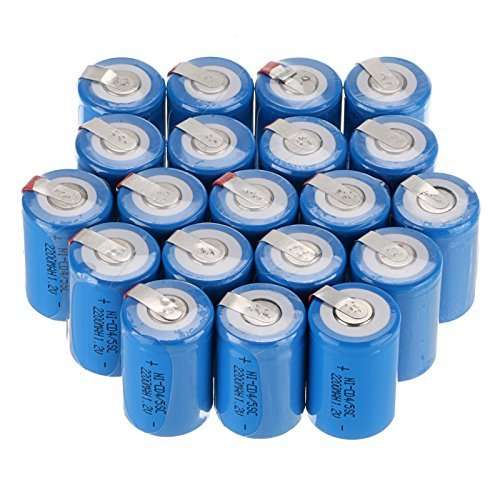 WindMax® US SELLER Blue Color 20 PCS 1.2V 2200mAh Ni-Cd NiCd Rechargeable Battery Batteries 4/5 Sub C SC with Tabs ()