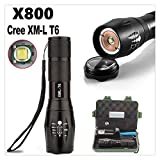 Doinshop X800 Zoomable XML T6 LED Tactical Flashlight+18650 Battery+Charger Set