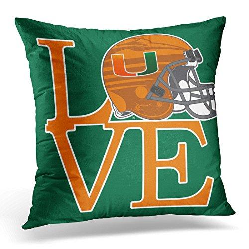 VANMI Throw Pillow Cover University Love Miami Florida The Canes Decorative Pillow Case Home Decor Square 20x20 Inches Pillowcase