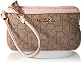 Calvin Klein Monogram Wristlet, Text Khaki Brown Sugarplum