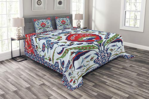 Ambesonne Turkish Pattern Bedspread, Floral Nature Art Motifs from Istanbul Abstract Plant in a Vase, Decorative Quilted 3 Piece Coverlet Set with 2 Pillow Shams, King Size, Blue Green Scarlet ()