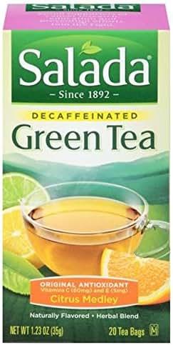 Salada Decaffeinated Green Tea with Original Antioxidants Citrus - 20 Tea Bags(Packaging may vary)
