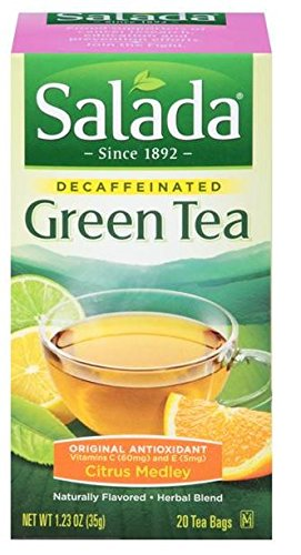 (Salada Decaffeinated Green Tea with Original Antioxidants Citrus - 20 Tea Bags(Packaging may vary))
