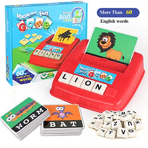 Matching Letter Game Spelling and Reading Multiplication Flash Cards Game For Kids Preschool Language Learning Educational Toys Develops Alphabet Words Spelling Skills Letter Block for Girls Boys Gift