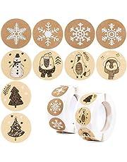 Kerststickers rollen voor ambachten, 1000 stuks 2,5 cm kerststickeretiketten op rol kerstvakantie stickers voor doe-het-zelf cadeauverpakking - sneeuwvlok sneeuwpop kerstboom pinguïn patronen