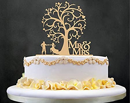 Mr and Mrs Cake Toppers, KOOTIPS Wooden Wedding Cake Topper Party Cake Decoration (Mr and mrs cake topper A) Kootips-2-410