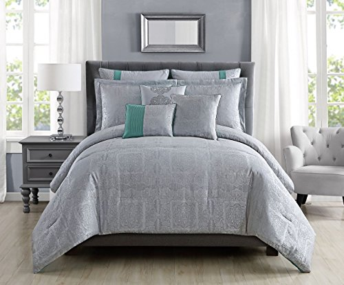 8 Piece Shannon Silver Comforter Set Queen