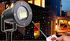 HAPPYMOOD Yard Light projector Garden Magic Starry Colorful Stars Pictures Waterproof Remote Control LED Christmas Holiday Display