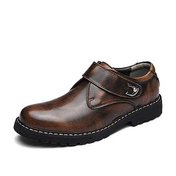 HILOTU Oxfords de los Hombres Zapatos Formales Moda Mocasines sin Cordones Zapatos de Negocios con Punta Redonda de Negocios (Color : Marrón, ...