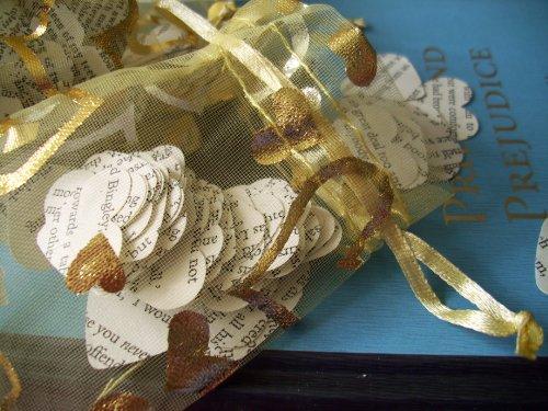 Handmade Jane Austen Books Paper Confetti Hearts in 4 x O...