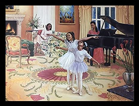 Dancing in The Living Room (Girls) – Katherine Roundtree 24×32 Black Framed – African American Black Art Print Wall Decor Poster