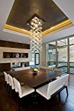 Siljoy Customized Square Modern Bubble Glass Chandelier Lighting for Stairs Living Room Foyer Entryway Meeting Room L40″ x W40″ x H60″