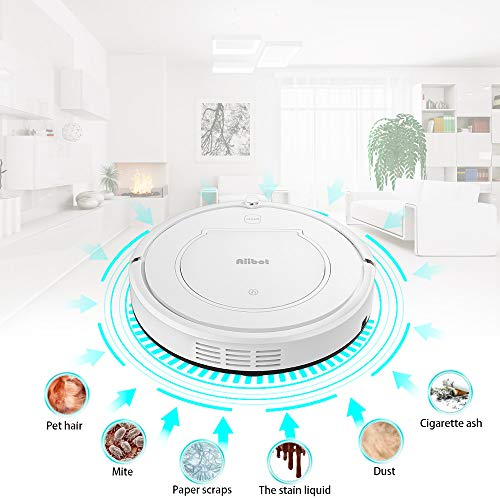 Glumes Smart Robotic Vacuum, Pet Hair Care, Powerful Suction Tangle-free, Super Quiet, Slim Design, Auto Charge, Daily Planning, Good For Hard Floor and Low Pile Carpet Ideal Gift BF Sales (Ship from US!) (white) by Glumes (Image #3)
