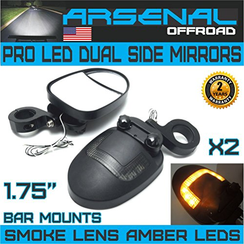 UTV LED Side View Mirrors Arsenal Pro Series Dual Mirrors Smoke Lens with Amber LED DRL or Turn signals, 1.75 Inch Billet Aluminum Clamps for Polaris RZR 900 XP 1000 Turbo Kawasaki Arctic Cat Wildcats ()