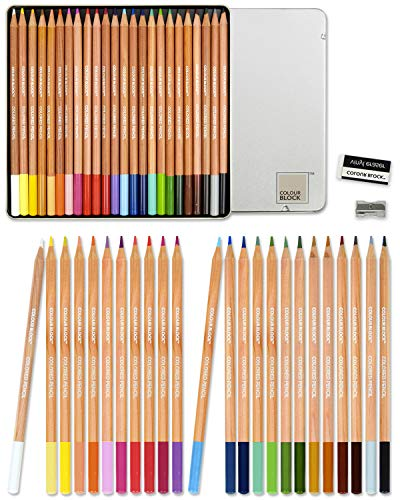 COLOUR BLOCK Colored Pencil Set - 24 PC, 24 Colored Pencils with Premiun Cedar Handle and Bonus Vinyl Eraser and Sharpener in a Tin Storage Box.