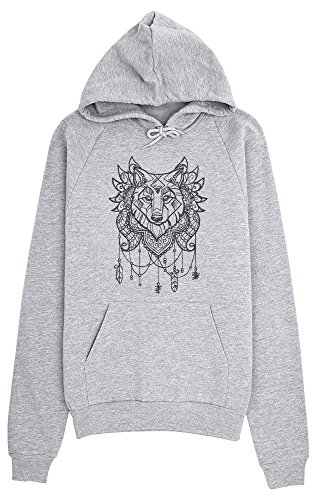 Wolf Indian Style Tattoo Design Women's Hoodie Pullover