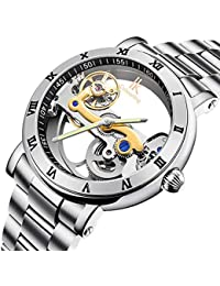 Gute Luxury Steampunk Bling Auto Mechanical Wristwatch Stainless Steel Silver Minimalist Watch