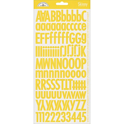 Doodlebug Skinny Cardstock Alpha Stickers, Bumblebee