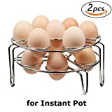 Steamer Rack, Colorful PoPo 2-Pack Stainless Steel Steamer Rack for Instant Pot and Pressure Cooker, Egg, Vegetable Cooler Stand Basket Set, Eggassist