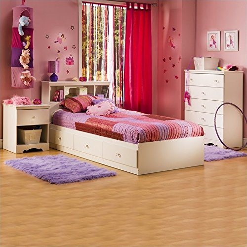 South Shore Crystal White Kids Twin Wood Captain's Storage Bed 3 Piece Bedroom Set by South Shore