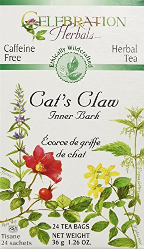 Cats Claw Tea Bags (Celebration Herbals Cat's Claw Inner Bark, 24 Herbal Tea Bags)