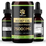 Billion Pets - Hemp Oil for Dogs Cats - Separation Anxiety, Joint Pain, Stress Relief, Arthritis, Chronic Pains, Anti-Inflammatory - Omega 3, 6, 9-100% Organic - Calming Drops