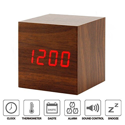 Swonda Cube Wood LED Alarm Clock - Time Temperature Date - Sound Control,Brown