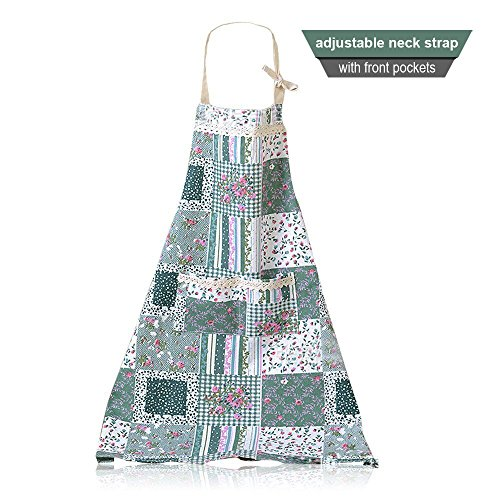 rn Thin Material Women's Pure Cotton Apron Kitchen Cooking Baking Chef Aprons for Women with Pockets (Blue) ()
