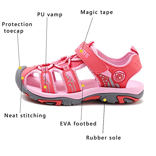JACKSHIBO Girls Boys Summer Beach Breathable Athletic Closed-Toe Sandals for Kids Toddler//Little Kid//Big Kid